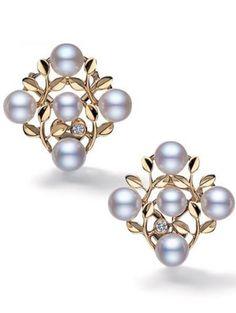Mikimoto pearl jewellery - Kaleidoscope effect Pearl Jewelry, Pearl Earrings, Luxury Jewelry, Unique Jewelry, Diamond Tops, Mikimoto Pearls, Schmuck Design, Bridal Earrings, Wedding Jewelry