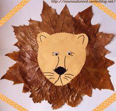 Lion aux feuilles d'automne