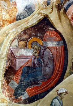 Nativity of Christ Studenica Monastery King's Church of Sts Joachim & Anne Raška Serbia South wall, fourth and third register: The Nativity of Christ Byzantine Icons, Byzantine Art, Religious Icons, Religious Art, Medieval Art, Renaissance Art, King Picture, Life Of Christ, Virgin Mary