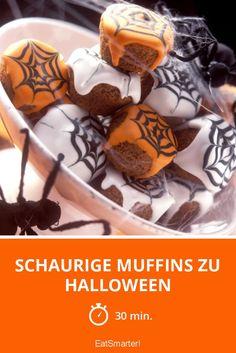 Schaurige Muffins zu Halloween - smarter - Zeit: 30 Min.   eatsmarter.de Muffins, Eat Smarter, Halloween Diy, Breakfast, Fall, Places, Recipes, Chocolate, Cooking