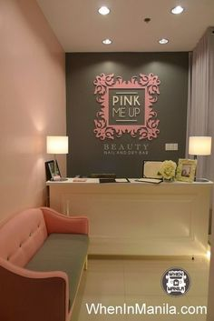 salon Pink Me Up Beauty Nail and Dry Bar: Most Glamorous Nail Salon in Metro Manila - . Pink Me Up Beauty Nail and Dry Bar: Most Glamorous Nail Salon in Metro Manila - When In Manila Nail Salon Design, Nail Salon Decor, Beauty Salon Decor, Salon Interior Design, Boutique Interior, Room Interior, Beauty Salon Names, Beauty Salons, Beauty Nail