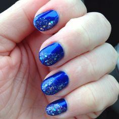 Midnight blue nail polish with glitter coating design!!
