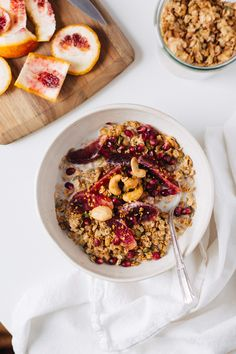 """Until about a year ago I bought pre-made granola out of the bulk bins or  cereal aisle, unaware of how easy it was to make from scratch. The ease and  ability to add the flavors and ingredients of my choice had me hooked as  soon as I slid the first pan of earthy, nutty smelling oats, nuts, and  seeds out of thewarm oven. My mom eats granola daily and asked for my  go-to recipe a few weeks back. I responded with something like """"coat some  oats, nuts, and seeds with honey and…"""