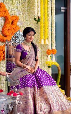 Bride in Banarasi Lehenga Lehenga Saree Design, Half Saree Lehenga, Lehnga Dress, Lehenga Designs, Saree Look, Saree Blouse Designs, Banarasi Lehenga, Kids Lehenga, Lehenga Blouse