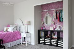 A DIY stenciled closet using the Roses Allover Stencil in Radiant Orchid. http://www.cuttingedgestencils.com/roses-stencil-pattern-rose-design.html