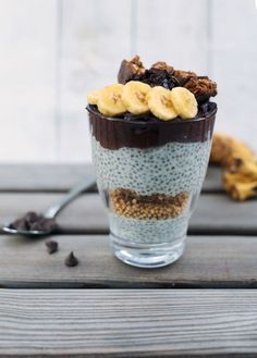 Chia pudding with a chocolate mousse topping.
