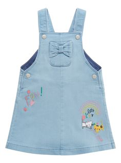 A cute addition to her denim wardrobe, this blue pinafore is detailed with pretty embroidered detailing and a patch pocket. Girls denim pinafore Embroidered detailing Patch pocket Popper fastening Keep away from fire Girls Navy Dress, Little Girl Dresses, Teddy Bear Clothes, Cute Baby Clothes, Cute Girl Outfits, Kids Outfits, Toddler Fashion, Kids Fashion, Short Infantil