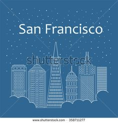 Night city in flat style of banner, poster, illustration, game, background. Metropolis in line style. Snow is falling. Night life and starry sky in San Francisco. Hackathon, workshop, seminar, lecture