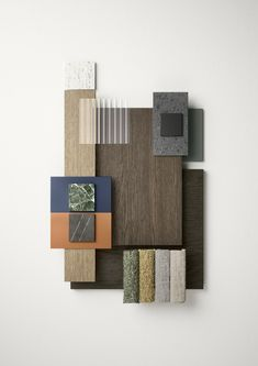 Novamobili presenta le nuove finiture Mood Board Interior, Interior Design Boards, Interior Design Presentation, Colorful Interior Design, Material Color Palette, Restaurant Bar Stools, Color Palette Challenge, Material Board, New Condo