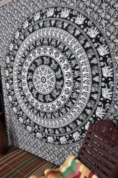 Transform your home and give a cool look to your living room, bedroom interiors or study room with Indian cotton Black and White Elephant Tapestry.  Grab the wonderful collection of wall tapestry with Handi Crunch at reasonable price. Get 20% off.  For more designs and patterns  #elephanttapestry #treeoflifetapestry #hippietapestry #mandalatapestry