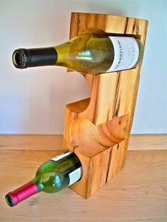 Antique timbers repurposed into a wine rack!