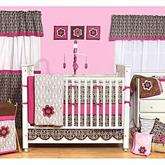 Bacati Damask Pink and Chocolate 10-piece Crib Bedding Set