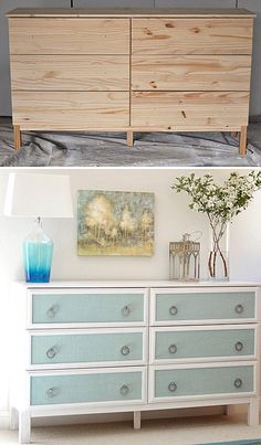 Elegant dresser makeover.  Nice for living room end tables :)