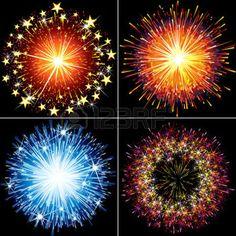 feu d artifice: Collection de feux d'artifice festif, cierges et des explosions saluent