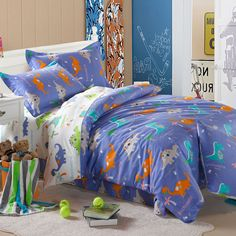 blue dinosaur dovet cover quilt cover single double kids bedding sets with twin size,full size,or queen size. Dinosaur Bedding, Kids Bedding Sets, Quilt Cover, Cartoon Styles, Queen Size, Duvet Cover Sets, Comforters, Kids Room, Blanket