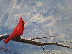 Cardinal  5X7 in.  Wildlife painting  Jim by jimsmeltzgallery