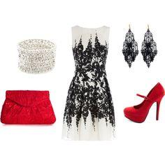 Siyah detaylı bir elbiseyi çarpıcı renkte kırmızı ayakkabı ve çanta ile kombinlemek Formal Casual, Pretty Outfits, Cool Outfits, Pretty Dresses, Fashion Outfits, Womens Fashion, Dress Fashion, Dress Me Up, Dress To Impress