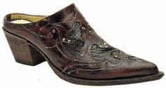 Ladies Mule Cognac-Crater Brown Lizard Overlay F1819
