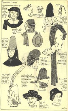 Village Hat Shop Gallery :: Chapter 7 - Medieval or Gothic Europe :: - 2020 Tattoo Ideas Awesome Tattoo Ideas Medieval Hats, Medieval Costume, Medieval Fashion, Medieval Clothing, Historical Costume, Historical Clothing, Historical Photos, Costume Français, Costume Shop