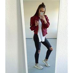 @ni_sa_ wears our LAIN bomber jacket in wine £20, free delivery. SHOP HERE: http://www.wearall.com/lain-zip-bomber-jacket