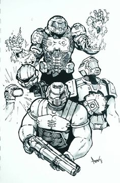 DOOM Marines by Noahpatchi on DeviantArt Doom Demons, Id Software, Doom Game, Wolfenstein, Amazing Drawings, Metroid, Video Game Characters, Fanarts Anime, Gaming Memes