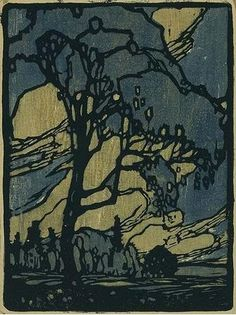 Franklin Carmichael (1890 -1945). Tree. Woodblock Print. Circa 1919-1921.