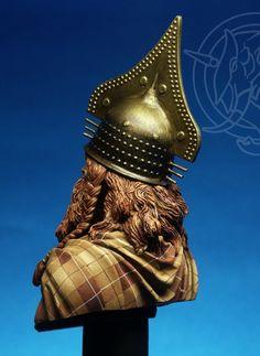 "Celtic Chieftain model wearing Villanovan style crest Helmet""."