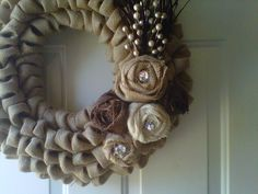 How To Make A Burlap Wreath | Burlap Wreath by BellaRueCottage on Etsy