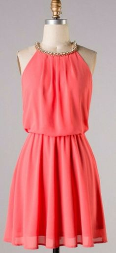 Coral rhinestone neck dress