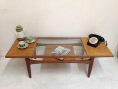 Vintage Retro G Plan Teak Glass Top Coffee Table 1960s Mid Century