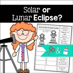 This is a fun and engaging way to practice determining the differences between solar eclipses and lunar eclipses. Students will read a sentence and decide if it is describing a solar or lunar eclipse, then glue the box in the correct column. An answer Solar Eclipse Facts, Solar Eclipse Activity, Solar Eclipse 2017, Science Lessons, Science Activities, Science Fun, Science Experiments, Eclipse Book, Lunar Eclipse