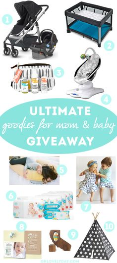 less than one day left to enter! The Ultimate Goodies Giveaway for Mom and Baby on Oh Lovely Day with over $1900 in prizes from Uppababy, 4 Moms, Zoe Organics, The Land of Nod, Little Hip Squeaks, Minted, Bumpnest, Bannor Toys  The Honest Company!