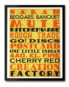UK Indie Music Record Labels Typography Art Print by indieprints