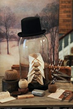 Chloe& Inspiration ~ Favorite Halloween Ideas Signup to get the latest DIYs and updates from Chloe. Chloe's Inspiration ~ Favorite Halloween IdeasWith just a weekend left to Table Top Display, Hat Display, Display Ideas, Display Window, Visual Display, Display Case, The Bell Jar, Bell Jars, Deco Originale