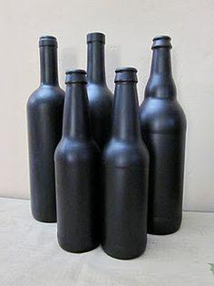 Chalkboard paint Bottles...easy craft for under $5!
