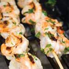 Grilled Shrimp with Olive Oil and Herb Sauce