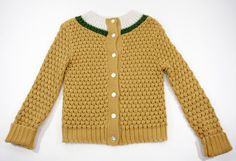 Vintage 70's Hand Knit Light Brown Sweater Cardigan w/ White & Green Collar M.