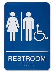 Bathroom Signs Dementia women bathroom blue sign - large 12 x 18 public restroom signs