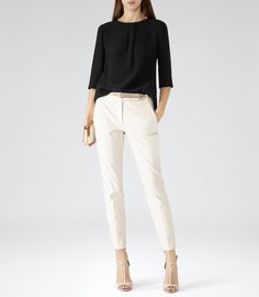 Womens Black Button Detail Top – Reiss Grace - All About Workwear Fashion, Fashion Mode, New Fashion Trends, Office Fashion, Party Fashion, Fashion Outfits, Fashion Blogs, Girl Fashion, Petite Fashion