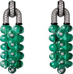 CARTIER. Earrings - platinum, emerald beads, onyx, brilliant-cut diamonds…