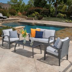 Christopher Knight Home Honolulu Outdoor 4-piece Wicker Seating Set and Cushions | Overstock.com Shopping - The Best Deals on Sofas, Chairs & Sectionals