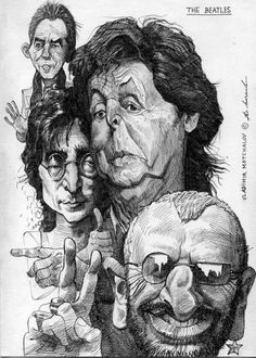The Beatles Caricature by Vladimir Motchalov