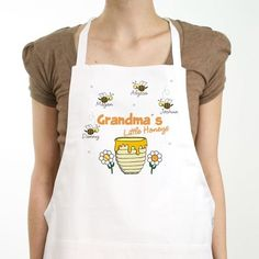 Apron is a full length, cotton/polyester twill fabric apron with matching fabric ties. This custom bib apron measures x and features multiple pockets for convenient storage along with an adjustable neck strap for a comfortable fit. Great Mothers Day Gifts, Great Gifts, Personalized Aprons, Chef Apron, Bib Apron, Grandmother Gifts, Kitchen Aprons, Honey, Ramadan