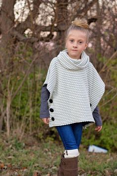 The Sugar n Spice Girls Poncho Pattern is a fall and winter must have! It features turtleneck or cowl option and side Kids Poncho Pattern, Poncho Knitting Patterns, Crochet Stitches Patterns, Knitted Poncho, Free Pattern, Sewing Patterns, Knitting For Kids, Crochet For Kids, Baby Knitting
