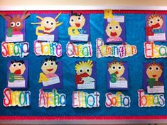 Cute rainbow name art and self portraits. Great decorating idea for open house or parent-teacher conferences.