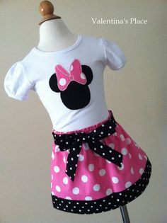 Minnie Mouse Skirt and shirt set Available in by Valentinasplace......