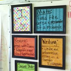 Posting I Can Statements in classroom: easy to change, cheap to make,  keeps them organized and takes up little space. Looks cute too! ;) (dollar store frames with glass, scrapbook paper and command picture tape)