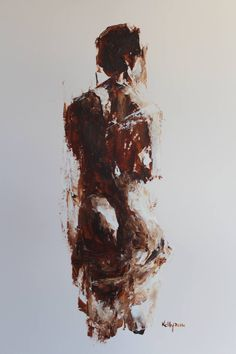 Acrylic figure nude painted/drawn with palette knife and minimal brushwork on A3 Daler-Rowney paper.