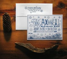 Winter Mountains Custom Letterpress Birth by colorquarry on Etsy