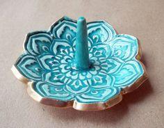 Malachite Lotus Ring Holder Bowl by dgordon on Etsy, $14.00